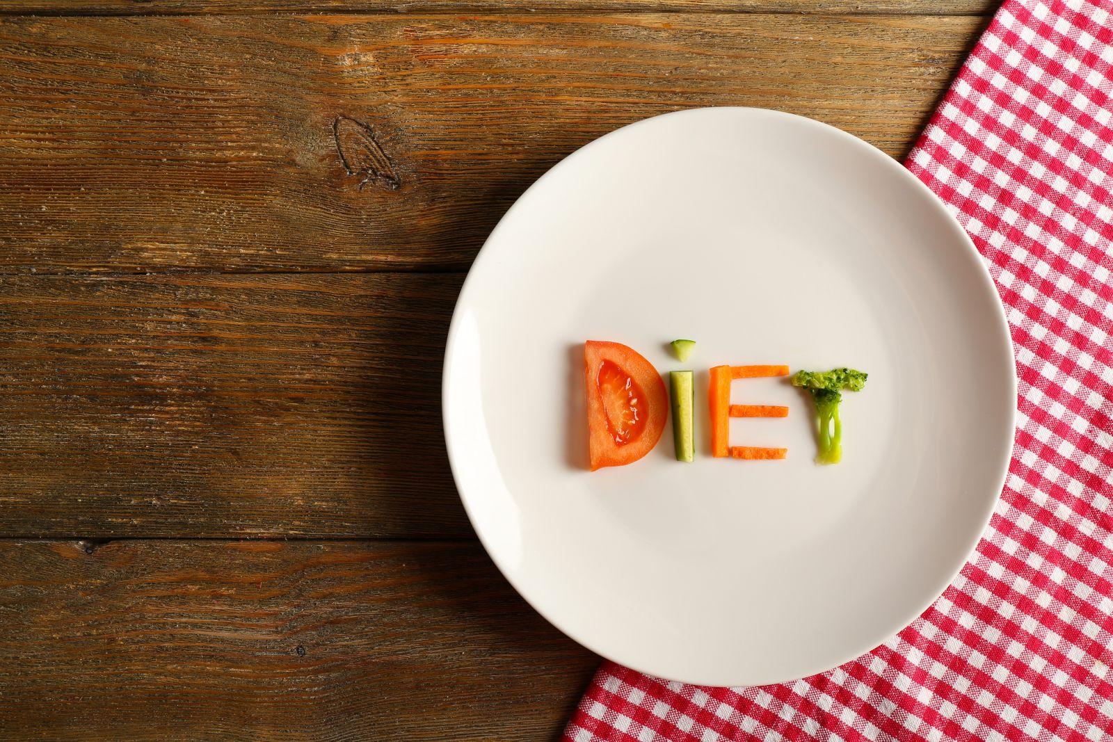 тарелка с надписью диета