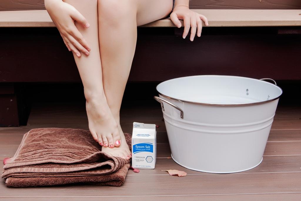 соль, тазик, полотенце и ноги девушки